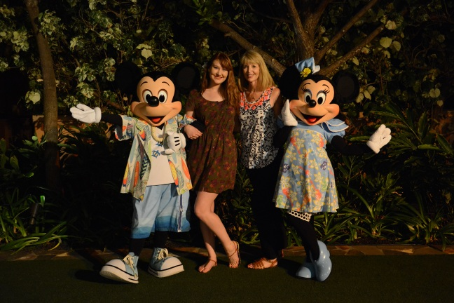 Diane Lampert with Emily, Mickey and Minnie