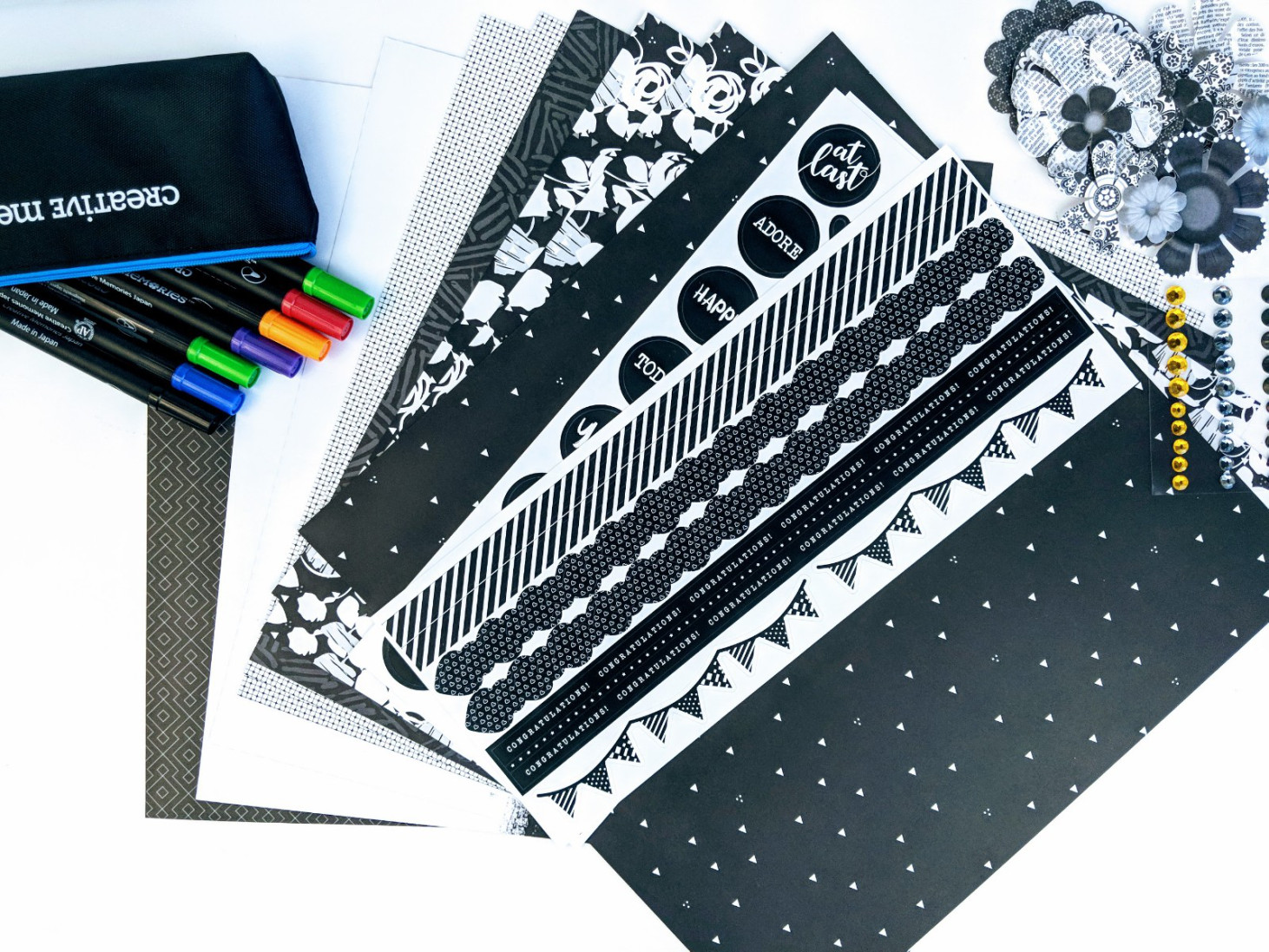 Dual-Tip-Pens-Black-White-Scrapbook-Layout-Creative-Memories